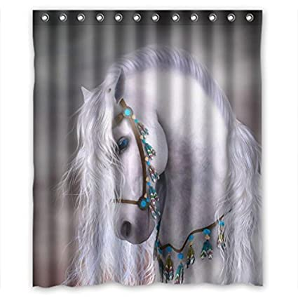 Amazon Bestselling Artistic White Horse Unique Shower Curtain