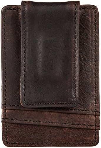 NiceEbag Genuine Leather Magnetic Minimalist Slim Front Pocket Vintage Money Clip Men Women