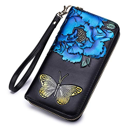 Wallet Flower Painted Hand Leather (Women Embossed Rose RFID Blocking Leather Purse Ladies Zipper Long Wristlet Wallet with Coin Pocket (Blue Flower))
