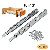 Gobrico 16-Inch Full Extension telescopic Side/Rear Mount Drawer Slides With Brackets Soft Closing Ball Bearing Drawer Runners,6Pairs(12pcs)
