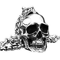 PAURO Men's Stainless Steel Heavy Gothic Biker Skull Pendant Necklace Punk Rock Vintage Style