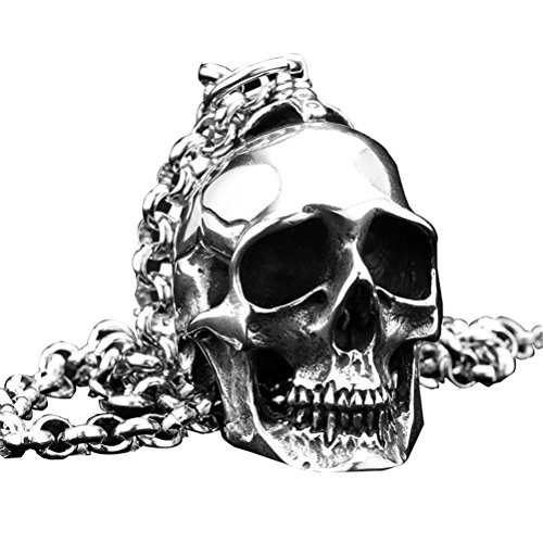 PAURO Mens Stainless Steel Gothic Biker Skull Pendant Necklace Punk Rock Silver Black Vintage