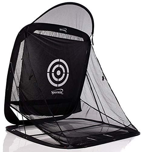 - Spornia SPG-7 Golf Practice Net - Automatic Ball Return System W/Target Sheet, Two Side Barrier (with Roof)
