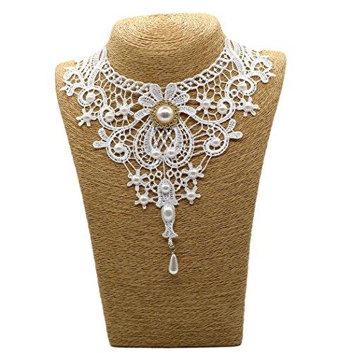 Time Pawnshop Noble Retro White Lace Flower Elegant Clavicle Chorker Necklace