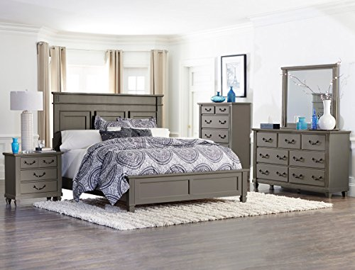 gervais california king bedroom set in grey rub through