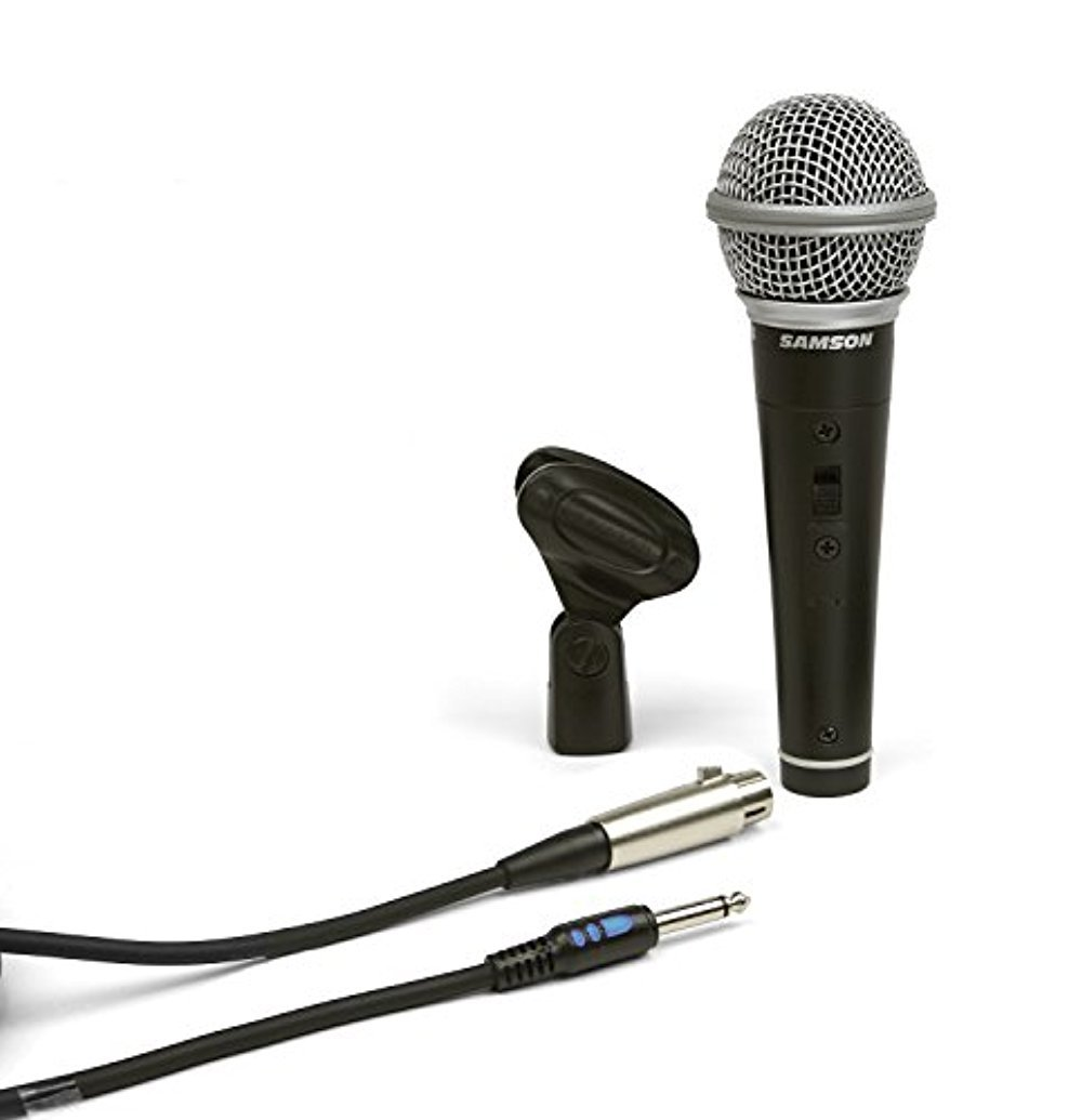 Samson R21S Dynamic Microphone with XLR to 1/4'' Mic Cable and Mic Clip by Samson Technologies