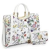 Dasein Designer Purse Flower Satchel Handbag PU Leather Purse Top Handle Handbags (XL2828 2PCs- White Flower)
