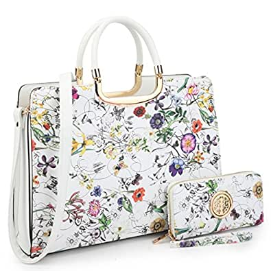 Dasein Designer Purse Flower Satchel Handbag PU Leather Purse Top Handle Handbags (XL2828 2PCs- White Flower)
