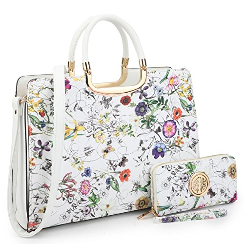 Floral Print Satchel Handbags Designer Purse Wallet Set w/Removeable Shoulder Strap White (Floral Print Leather)