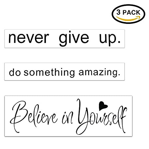 Wall Decal Quotes Words Stickers Bundle-Konsait Never Give Up-Do Something Amazing-Believe In yourself Vinyl Wall Lettering Quotes Sayings for Living Room School Room (Bathroom Wall Decal Quotes)
