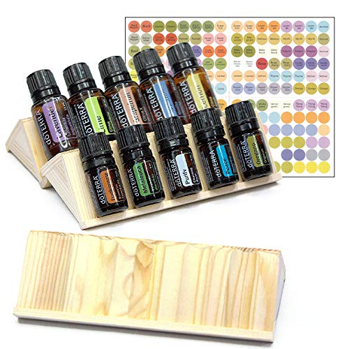 Essential Oils Storage Set - 3pc Wooden Display Racks that Holds 15 Oil Bottles (5mL - 30mL) - Expandable Holders for Organizing & Storing Oils