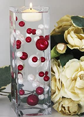Easy Elegance RED & WHITE Pearl Beads w/FREE Jelly BeadZ® Water bead gel pearls ($3.95 Value) - Great for Wedding Centerpieces and Decorations