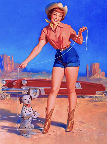 A SLICE IN TIME 1940s Pin-Up Girl Cowgirl Roping The Dalmation Puppy Dog Vintage Picture Poster Print Art Pin Up. Measures 10 x 13.5 inches