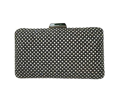 Lawevan® mujeres L20cm * H10cm * W4cm Nonwovens telas caja de embrague bolsa de cubierta con el bolso de noche de cristal embrague de la boda Negro