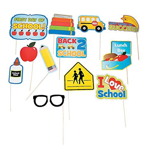 Fun Express Back To School Photo Stick Props - 12 Pieces