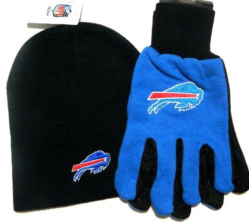 Buffalo Bills NFL Licensed Black Knit Beanie and Utility Glove Set Hat Gift - Licensed Nfl Beanie