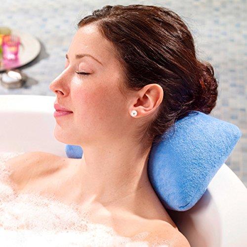 Luxus Badewannenkissen Farbe: blau mit Saugnäpfen Badewannen Kissen Nackenkissen mit Microperlen