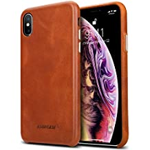 iPhone Xs Case, Jisoncase Genuine Leather iPhone Xs Case Ultra Thin Anti-Slip Hard Back Cover for Apple iPhone Xs - Brown