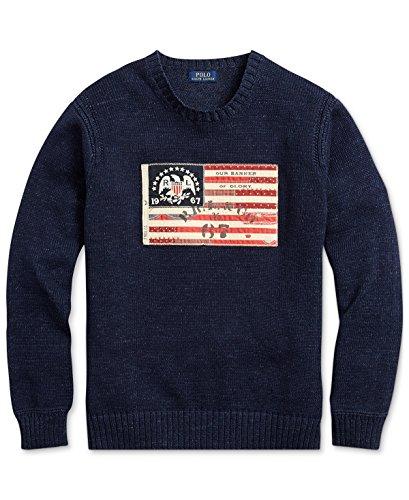 Polo Ralph Lauren Men's Flag-Patch Cotton Sweater, Summer Navy, Medium by Polo Ralph Lauren