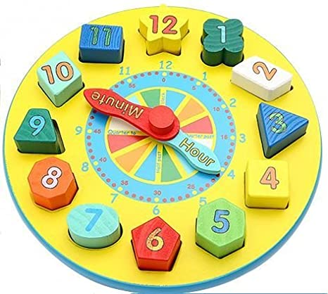 Babyhugs - Reloj de madera para aprender a enseñar a los niños con bloques de clasificación de formas: Amazon.es: Bebé