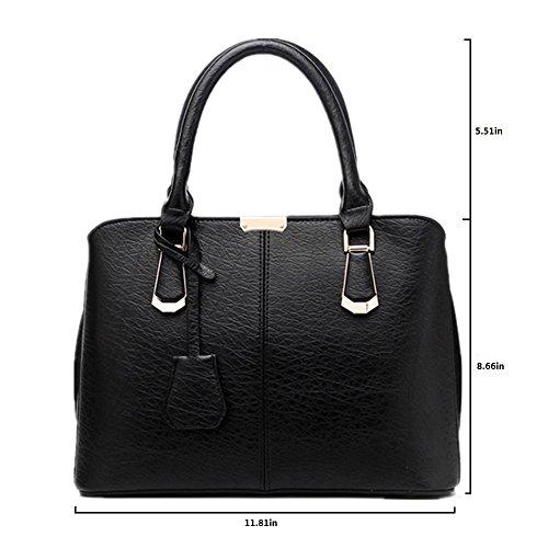 Pahajim women handbags PU leather top handle satchel tote purse shoulder bags (wine red) by Pahajim (Image #3)