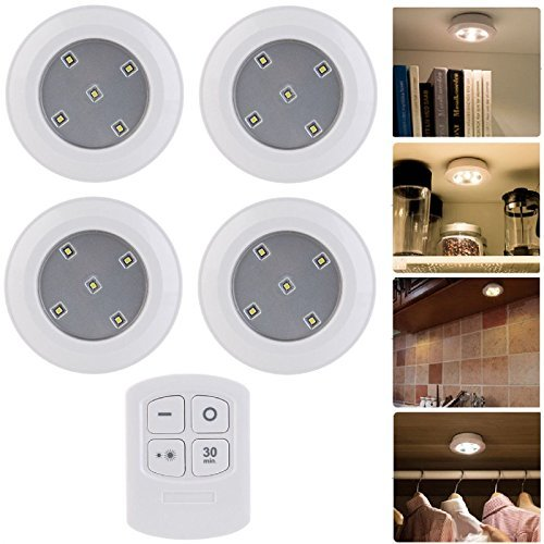 Set of 4 wireless wirefree round remote control led timer puck set of 4 wireless wirefree round remote control led timer puck lights night cabinet closet wardrobe aloadofball Gallery