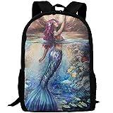 JJHGNL Mermaid Under Moonlight Unique School Backpack Set Canvas Teen Girls Bookbags Laptop Backpack Kids Lunch Tote Bag Clutch Purse