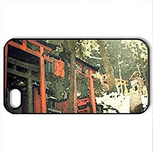 Inari Temple - Case Cover for iPhone 4 and 4s (Watercolor style, Black)