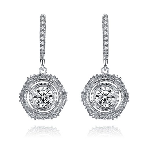 LUX AND GLAM New Classic Round Art Deco Cubic Zirconia Pendant Collection Pendant Necklace, Drop Earrings and Stud Earrings Jewelry Sets (Drop Earrings)