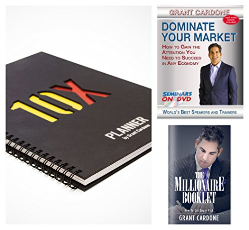 10X Planner By Grant Cardone Bundle with Grant Cardone Dominate Your Market DVD & The Millionaire Booklet: How to Get Super Rich
