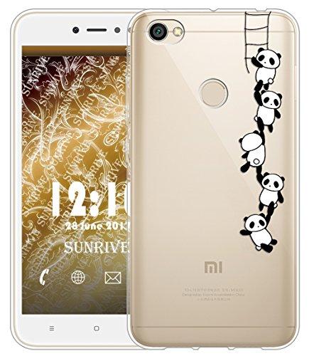 Funda Para Xiaomi Redmi Note 5A Prime 5,5 pulgadas, Sunrive Silicona Funda Slim Fit Gel Transparente Carcasa Case Bumper de Impactos y Anti-Arañazos Espalda Cover(tpu Gato 2)+1 x Lápiz óptico tpu Panda 1