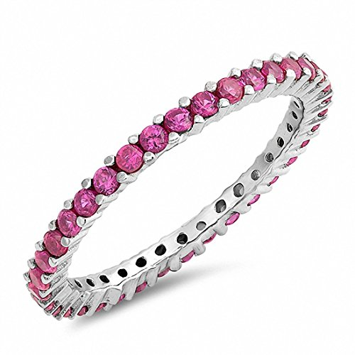 Eternity Stackable Wedding Band Ring Simulated Ruby 925 Sterling Silver,Size-7 ()