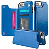 iPhone 7 Plus Wallet Case,iPhone 8 Plus Wallet Case,Protective iPhone 8 Plus Card Holder Case Kickstand Credit Card Slot,Leather Cover Apple iPhone 7/8 Plus Otterbox Folio Flip Phone Case Blue