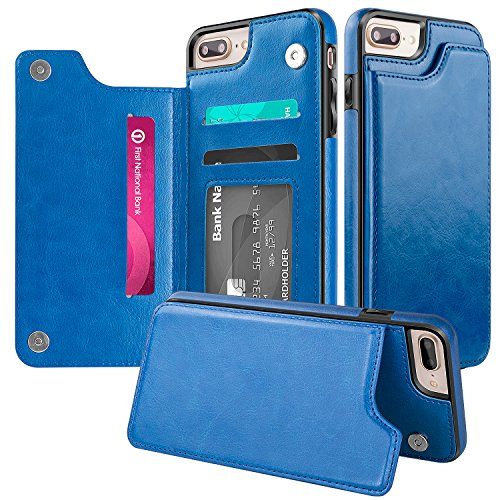 iPhone 7 Plus Wallet Case,iPhone 8 Plus Wallet Case,Protective iPhone 8 Plus Card Holder Case Kickstand Credit Card Slot,Leather Cover Apple iPhone 7/8 Plus Otterbox Folio Flip Phone Case Blue by AIWOXING