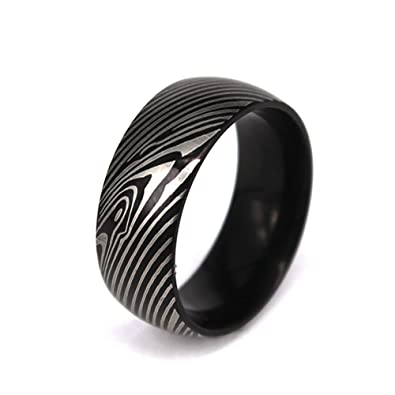 Damascus Steel Plated Mens Wedding Band Ring Mokume Gane Replica 7