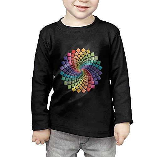 Nquqiyilu Children Color Rotation Squares Vector Humor Running Black T Shirt 5-6 Toddler Long Sleeve
