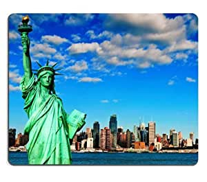 New York City Skyline Statue of Libety Mouse Pads Customized Made to Order Support Ready 9 7/8 Inch (250mm) X 7 7/8 Inch (200mm) X 1/16 Inch (2mm) High Quality Eco Friendly Cloth with Neoprene Rubber MSD Mouse Pad Desktop Mousepad Laptop Mousepads Comfortable Computer Mouse Mat Cute Gaming Mouse_pad