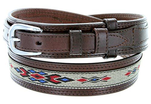 Mens Genuine Leather Ranger Belt with Southwestern Woven Diamond Pattern Accent