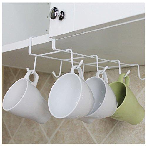 8-Hook Under-the-Shelf Mug Rack Kitchen Hanging Organizer Rack Mug Storage Holder
