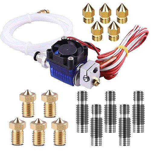 V6 Hotend Full Kit, TopDirect 3D Printer J-Head Hot end with Fan + 5 Pcs Extruder Brass Print Head + 5 Pcs Stainless Steel Nozzle Throat for V6 Makerbot RepRap 3D Printers