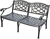 Crosley Furniture Sedona Solid-Cast Aluminum Outdoor Loveseat - Black