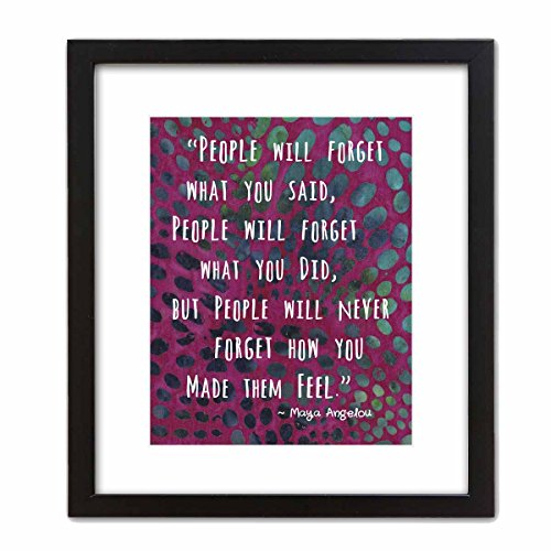 Colorful Batik Pattern Wall Art Print ~ MAYA ANGELOU Famous Quote: '...People will Never Forget How You Made them FEEL' (8