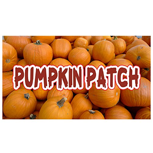 (Halloween Pumpkin Patch 11 Oz Vinyl PVC Flex Banner Decoration for Indoor/Outdoor, Home, Door, Party, Yard, Office with Hemmed Edges & Metal Grommets Free (5' X)