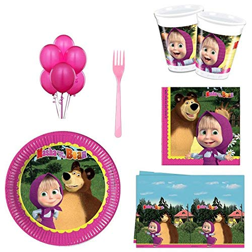 16 Kids Set of Masha and The Bear Party Supplies and Birthday New Year's Tableware Colored Napkins Paper Plates in a Set of 88 Items for 16 Guests
