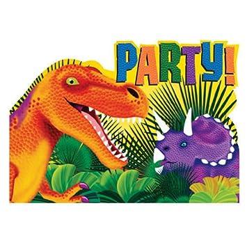 Tarjetas De Invitación Dinosaurio Parte 8 Pcs Amazon Es