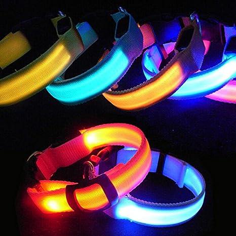 Nylon LED Flashing Luminous Pet Dog Puppy Collar Night Adjustable Safety Light