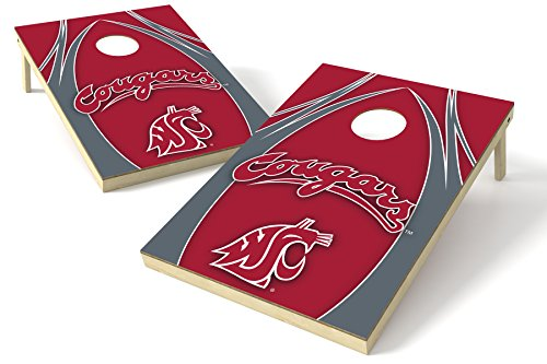 NCAA College Washington State Cougars 2x3 Wood Tailgate Toss Platinum College V Logo Game, Multicolor, 24x36'' by Wild Sports
