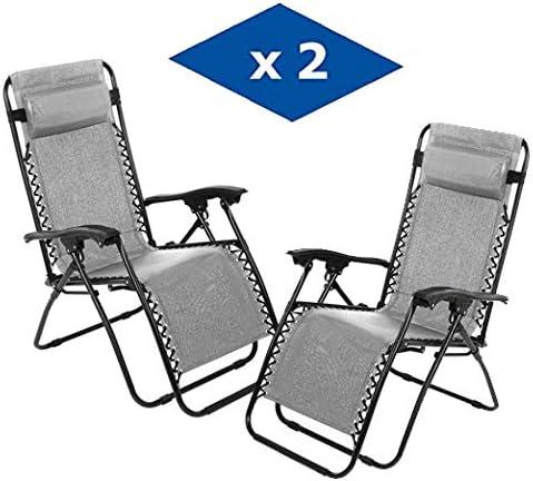 VIP HOGAR Pack 2 Tumbonas Plegables Multiposiciones, Sillas Relax Jardín o Exterior Gravedad Cero (Gris): Amazon.es: Jardín