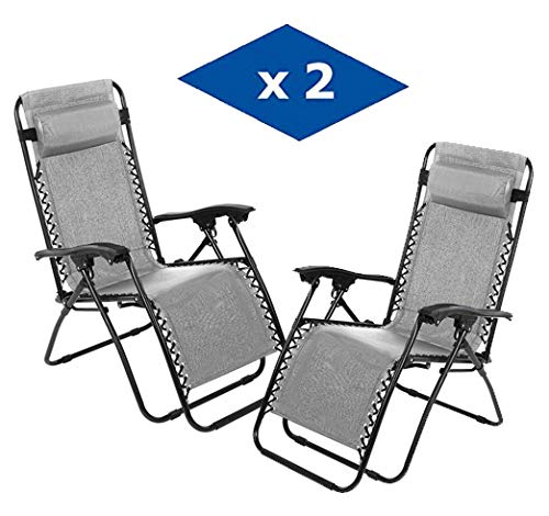 🥇 VIP HOGAR Pack 2 Tumbonas Plegables Multiposiciones