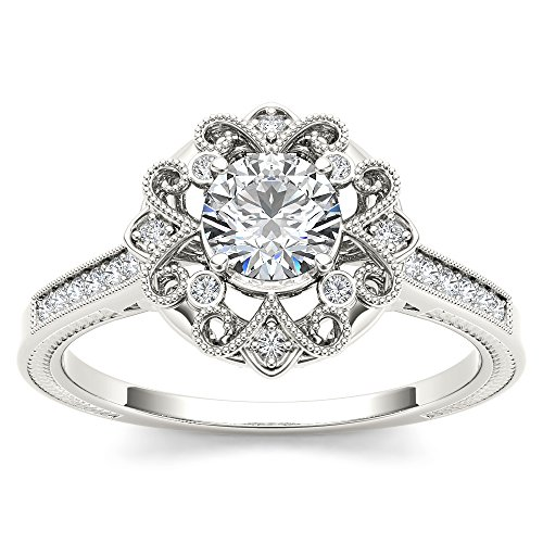 1/2 Carat TDW Round Cut Diamond 14k White Gold Vintage Engagement Ring (HI-I2)